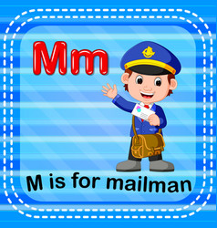 flashcard letter m is for mailman vector image