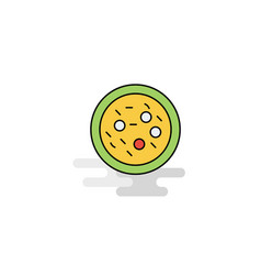 flat bacteria on plate icon vector image