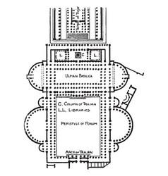 Forum and basilica of trajan vintage engraving vector