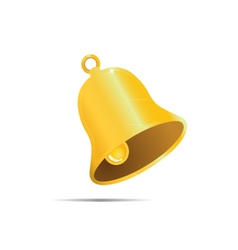 Golden bell on white bakground vector image
