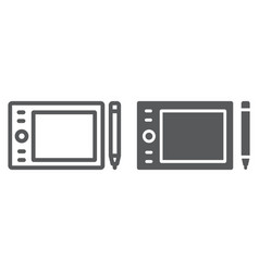 graphic tablet line and glyph icon electronic vector image