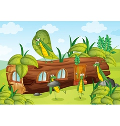 grasshopper and wooden house vector image vector image