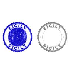 Grunge sicily textured stamp seals vector