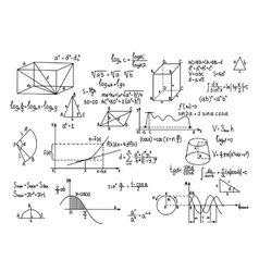 Hand drawn geometry formulas Science knowledge vector image