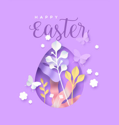 happy easter papercut egg flower paper craft card vector image