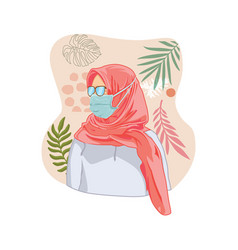 Hijab woman with masker vector