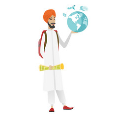 Hindu traveler man holding map and globe vector