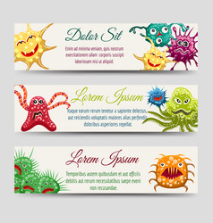 Horizontal banners with monsters or microbes vector
