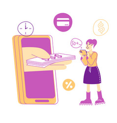 Huge human hand stretch money to woman with tablet vector