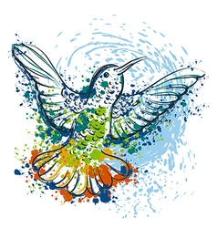 Hummingbird with watercolor splashes vector