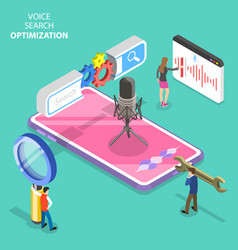 isometric flat concept voice search vector image