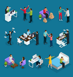 isometric people and stress set vector image
