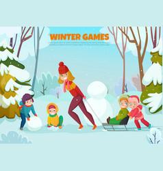 kindergarten winter walk vector image