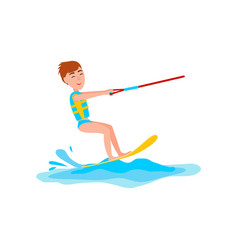 kitesurfing and happy boy vector image