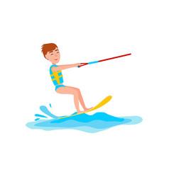 Kitesurfing and happy boy vector