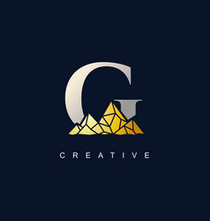 letter g with golden mountain logo vector image