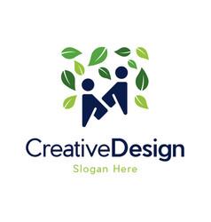 Letter m human leaf care creative business logo vector