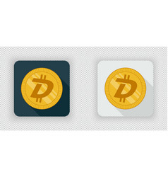 light and dark digibyte crypto currency icon vector image vector image