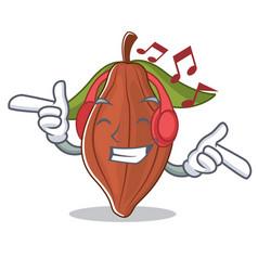 Listening music cacao bean mascot cartoon vector