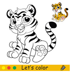 little sitting tiger coloring with colorful vector image