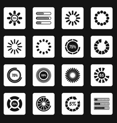loading bars and preloaders icons set squares vector image