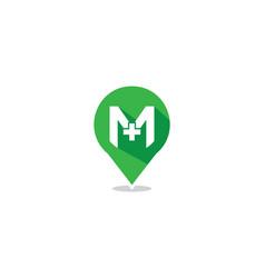 M letter hospital locator logo vector