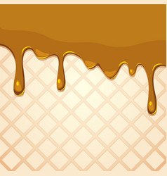Melting caramel on wafer texture vector