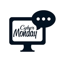 Monitor pc bubble chat cyber monday icon vector