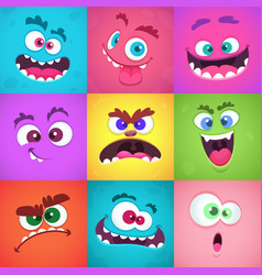 monsters emotions scary faces masks with mouth vector image