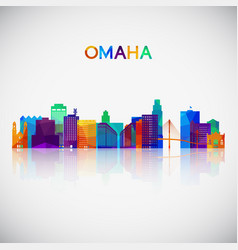 omaha skyline silhouette in colorful geometric vector image