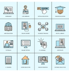 Online Education Icons Set vector