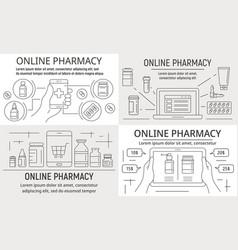 online pharmacy banner set outline style vector image