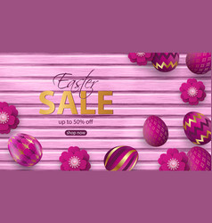 paper flowers and realistic pink easter eggs with vector image