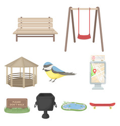park set icons in cartoon style big collection of vector image