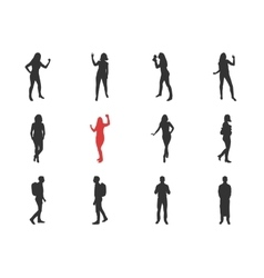 people male female silhouettes in different vector image