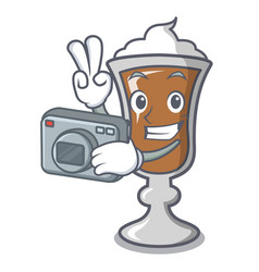 Photographer irish coffee mascot cartoon vector