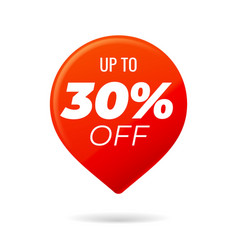 Red pin on white background up to 30 percent off vector