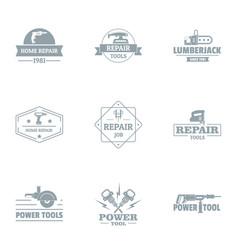 Regenerative work logo set simple style vector