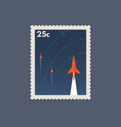 retro space postage stamp vector image