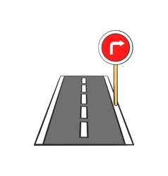 Road and red road sign pointing right icon vector image
