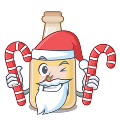 Santa with candy bottle apple cider above cartoon vector