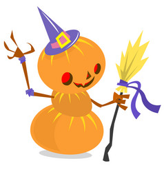 scarecrow pumpkin head cartoon style isolated on vector image