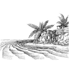 Sea view small beach and palm trees vector