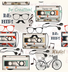 Seamless background with old cassette headphones vector