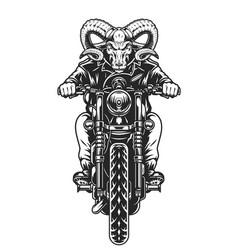 Serious ram head biker riding motorcycle vector