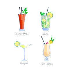 set alcoholic cocktails isolated fruit cold vector image