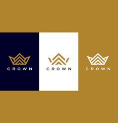 set crown logo design vector image