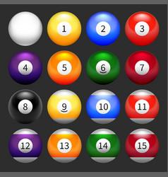 set of balls for billiards vector image