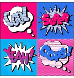 Set of comics bubbles in vintage style expressions vector