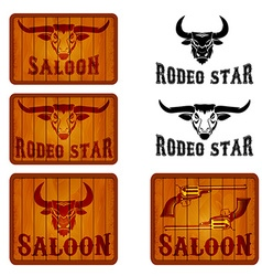 Set of saloon and rodeo emblems templates with vector